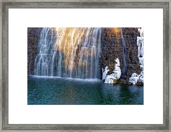 Waterfall In Winter Framed Print
