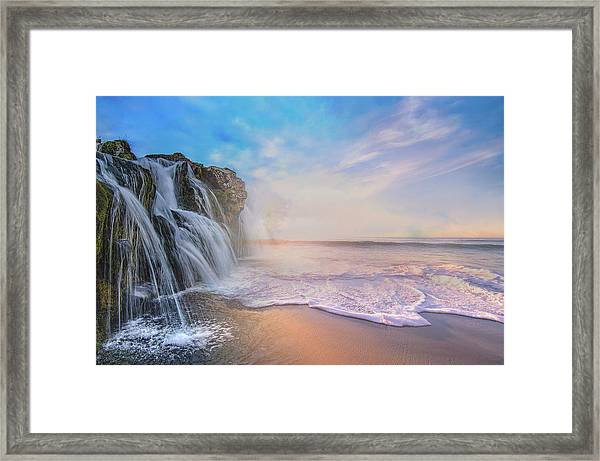 Waterfalls Into The Ocean Framed Print