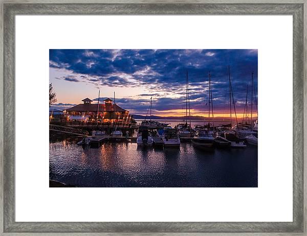 Waterfront Summer Sunset Framed Print