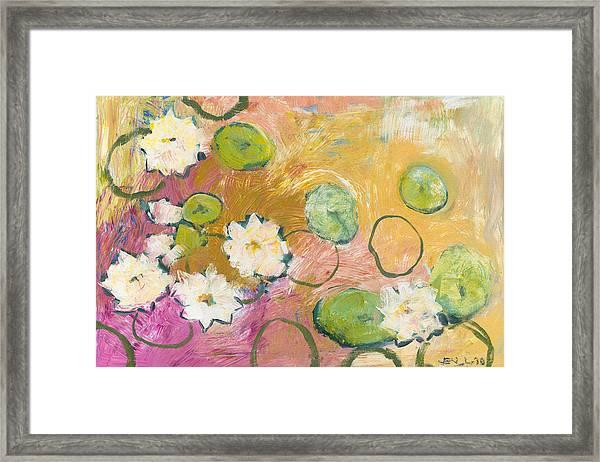 Waterlillies At Dusk Framed Print