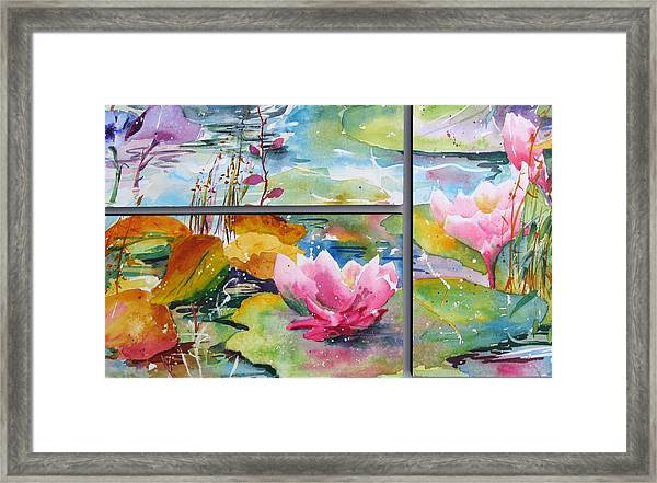 Waterlillies Triptych Framed Print