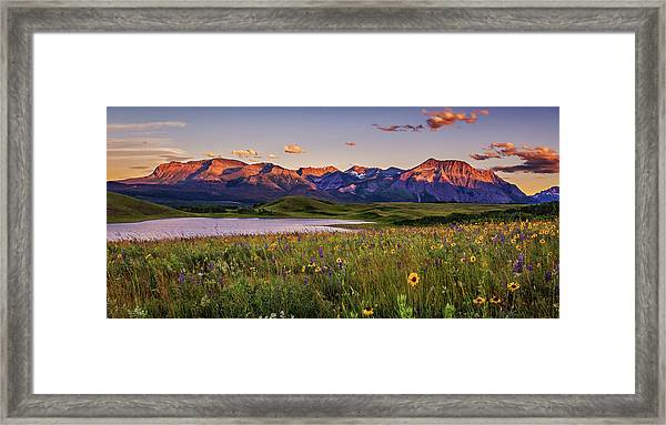 Waterton Lakes Sunset Framed Print by Tracy Munson