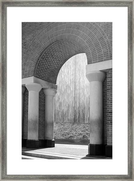 Waterwall And Arch 3 In Black And White Framed Print