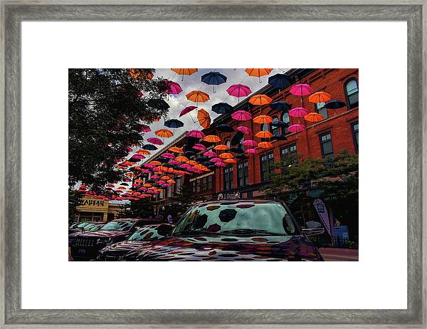 Wausau's Downtown Umbrellas Framed Print