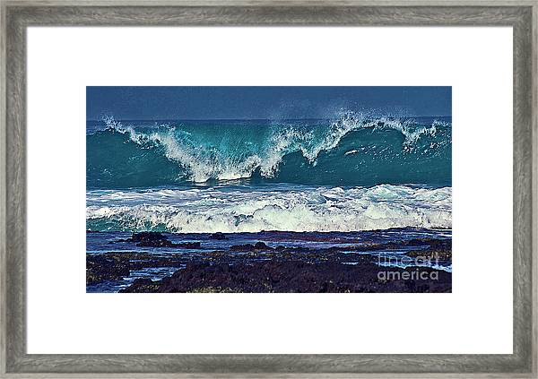 Wave Breaking On Lava Rock 2 Framed Print