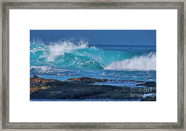 Wave Breaking On Lava Rock Framed Print