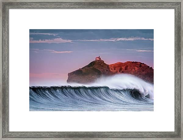 Wave In Bakio Framed Print
