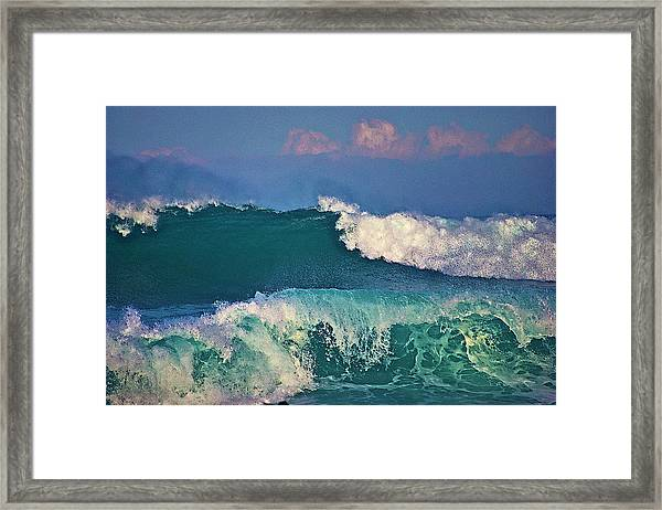 Waves And Clouds Framed Print