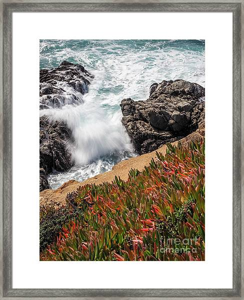Waves And Rocks At Soberanes Point, California 30296 Framed Print