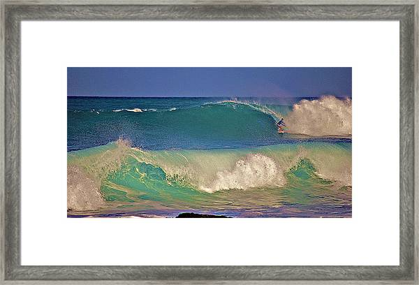 Waves And Surfer In Morning Light 2 Framed Print