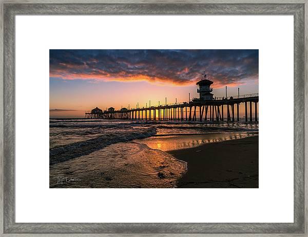 Waves At Sunset Framed Print