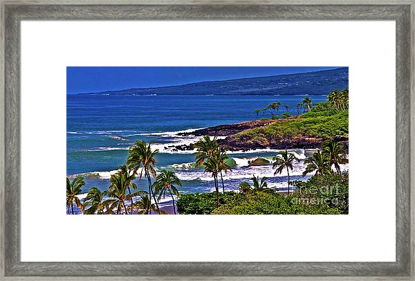 Waves Breaking At Hapuna Beach Framed Print