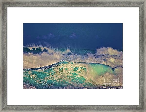 Waves Breaking Framed Print
