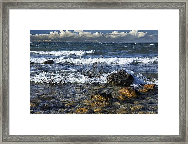 Waves Crashing Ashore At Northport Point On Lake Michigan Framed Print