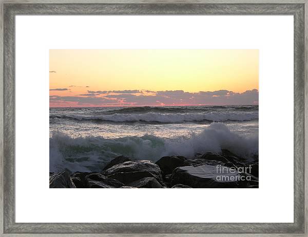 Waves Over The Rocks  5-3-15 Framed Print