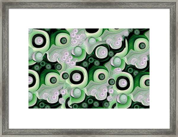 Waves Seashells Foam And Stones In Green Framed Print by Jacqueline Migell