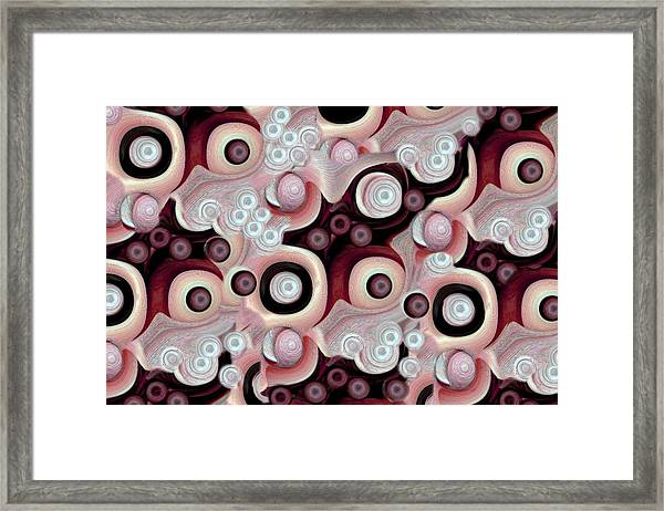 Waves Seashells Foam And Stones In Red Hues Framed Print by Jacqueline Migell