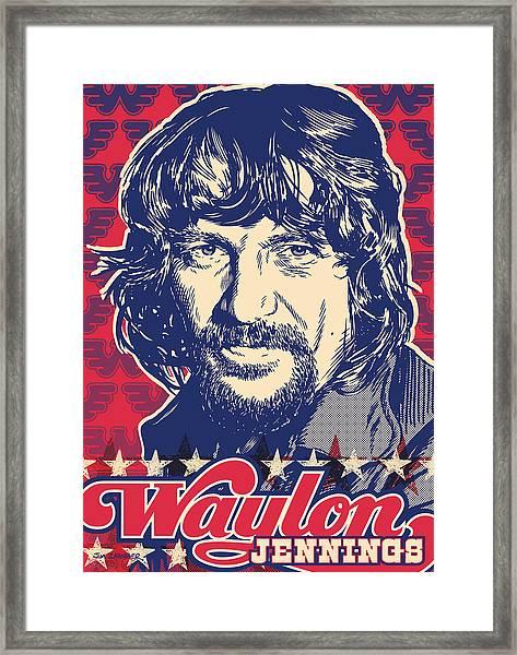 Waylon Jennings Pop Art Framed Print