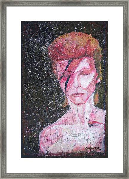 Framed Print featuring the painting We Can Be Heroes A Tribute To David Bowie by Laurie Maves ART