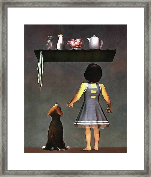 Framed Print featuring the painting We Want Those Candies by Jan Keteleer
