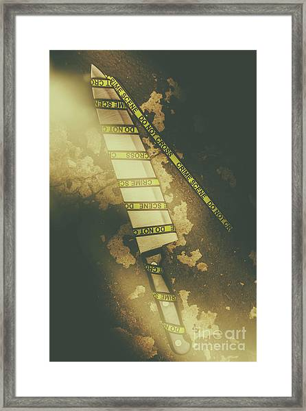 Weapon Wrapped In Yellow Crime Scene Ribbon Framed Print