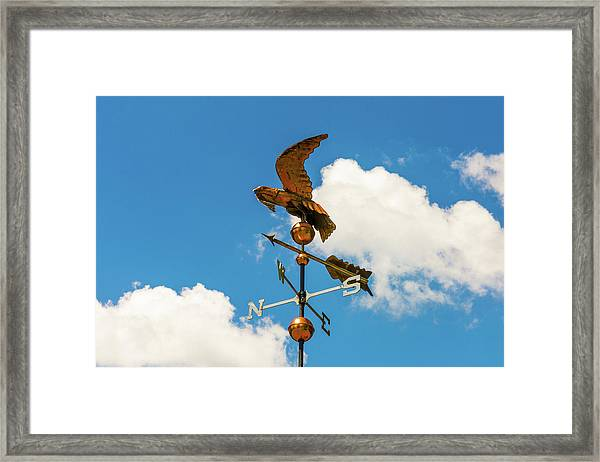 Framed Print featuring the photograph Weather Vane On Blue Sky by D K Wall