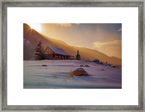 Weber Canyon Cabin Sunrise. Framed Print