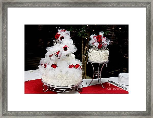 Wedding Cake And Red Roses Framed Print