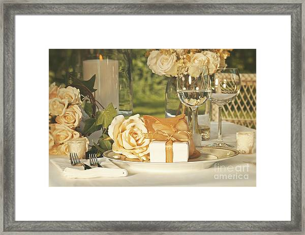Wedding Party Favors On Plate At Reception Framed Print