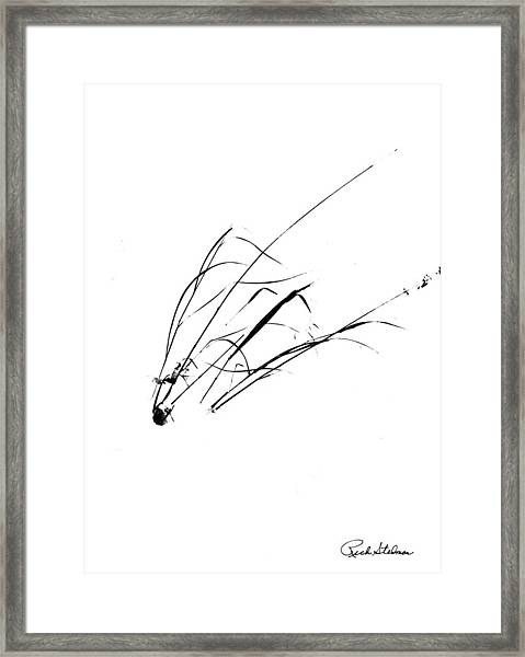 Weeds In Snow-sumie Look Framed Print