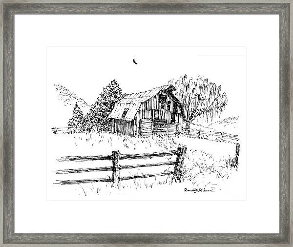 Weeping Willow And Barn One Framed Print