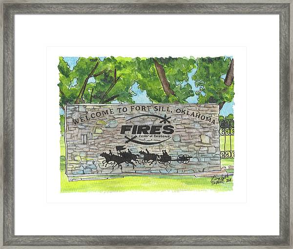 Welcome Sign Fort Sill Framed Print