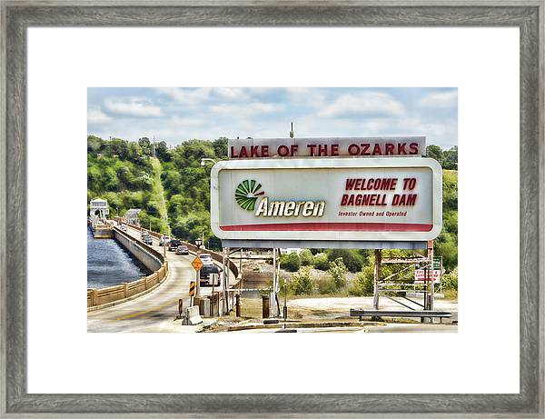 Welcome To Bagnell Dam Framed Print