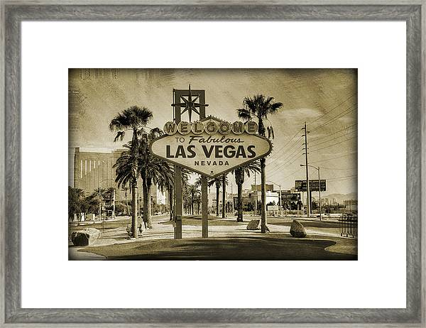 Welcome To Las Vegas Series Sepia Grunge Framed Print
