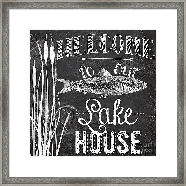 Welcome To Our Lake House Sign Framed Print
