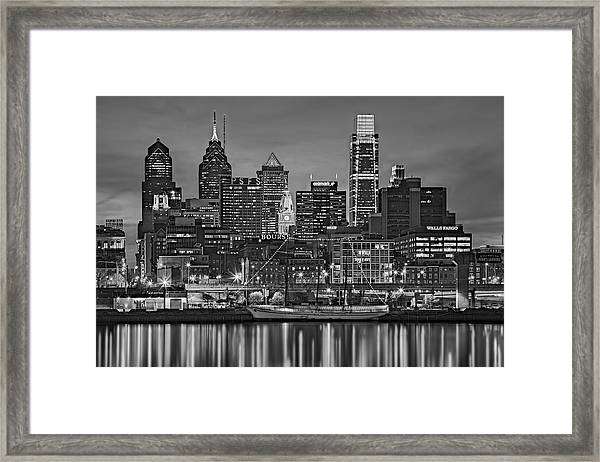 Framed Print featuring the photograph Welcome To Penn's Landing Bw by Susan Candelario