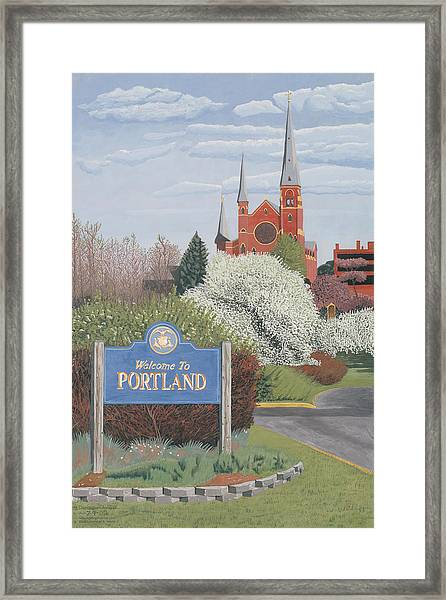 Framed Print featuring the painting Welcome To Portland by Dominic White