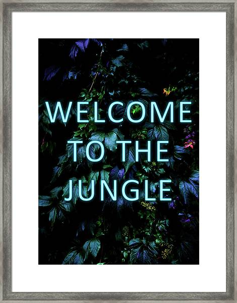 Welcome To The Jungle - Neon Typography Framed Print
