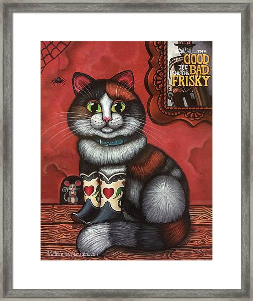 Western Boots Cat Painting Framed Print