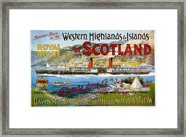 Western Highlands And Islands Of Scotland - Steamship - Retro Travel Poster - Vintage Poster Framed Print