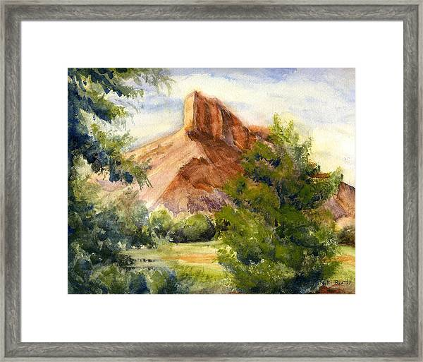 Western Landscape Watercolor Framed Print