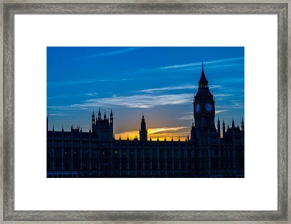 Westminster Parlament In London Golden Hour Framed Print