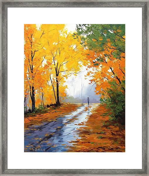 Wet Autumn Morning Framed Print by Graham Gercken