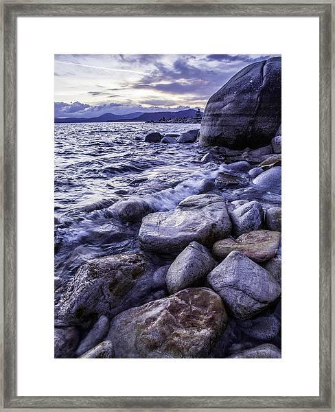 Wet Rocks At Sunset Framed Print