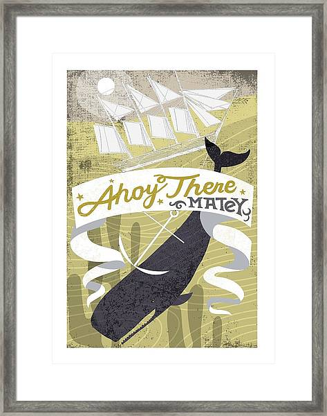 Whale Pulling Down Ship With The Anchor Framed Print by Gillham Studios