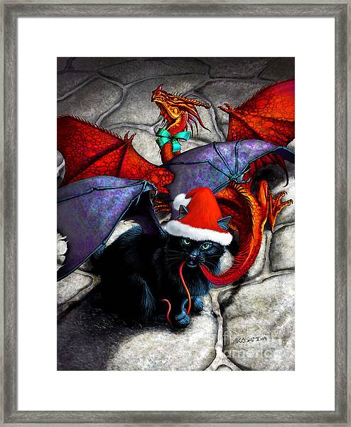 What The Catabat Dragged In For Christmas  Card Framed Print