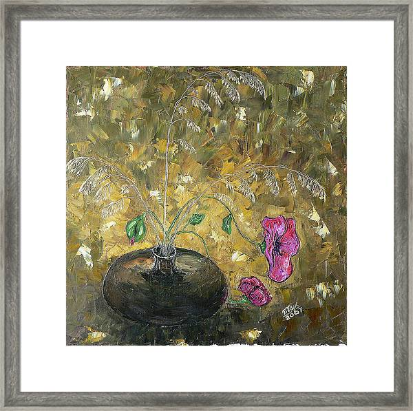 Wheat And Poppy Framed Print by Mila Ryk