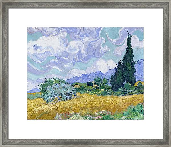 Wheat Field With Cypresses, 1889 Framed Print