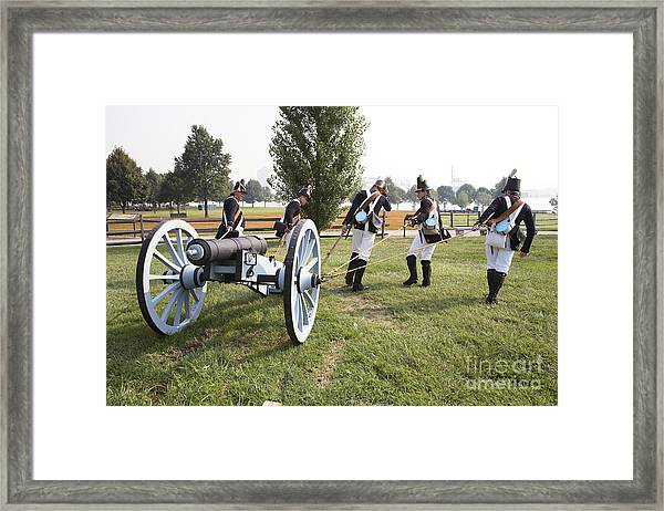Wheeling The Cannon At Fort Mchenry In Baltimore Maryland Framed Print