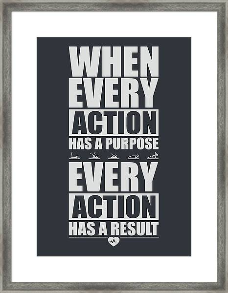 When Every Action Has A Purpose Every Action Has A Result Gym Motivational Quotes Framed Print